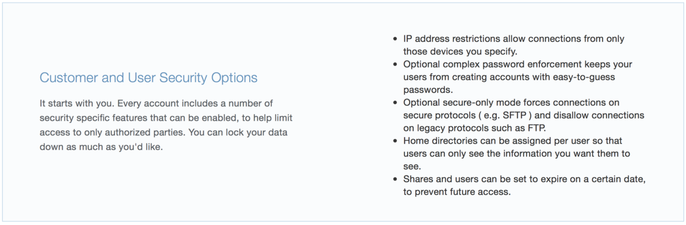 List of customer and user security options for Enterprise FTP accounts.
