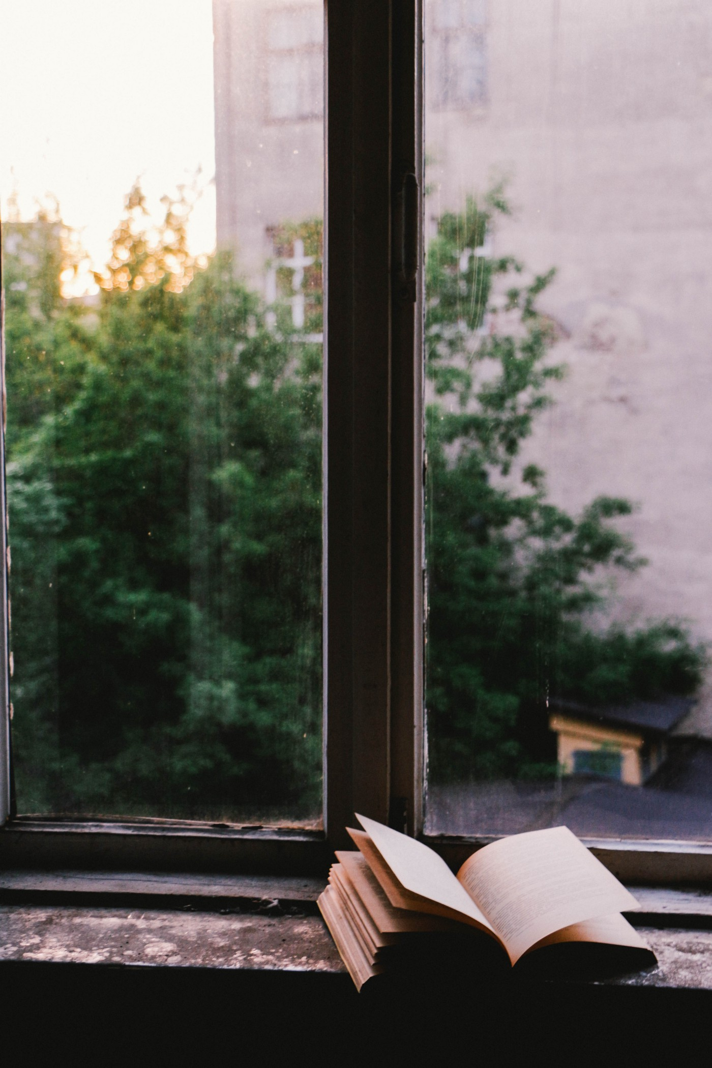 A book sits open on a window ledge, with a view of a building and trees beyond.
