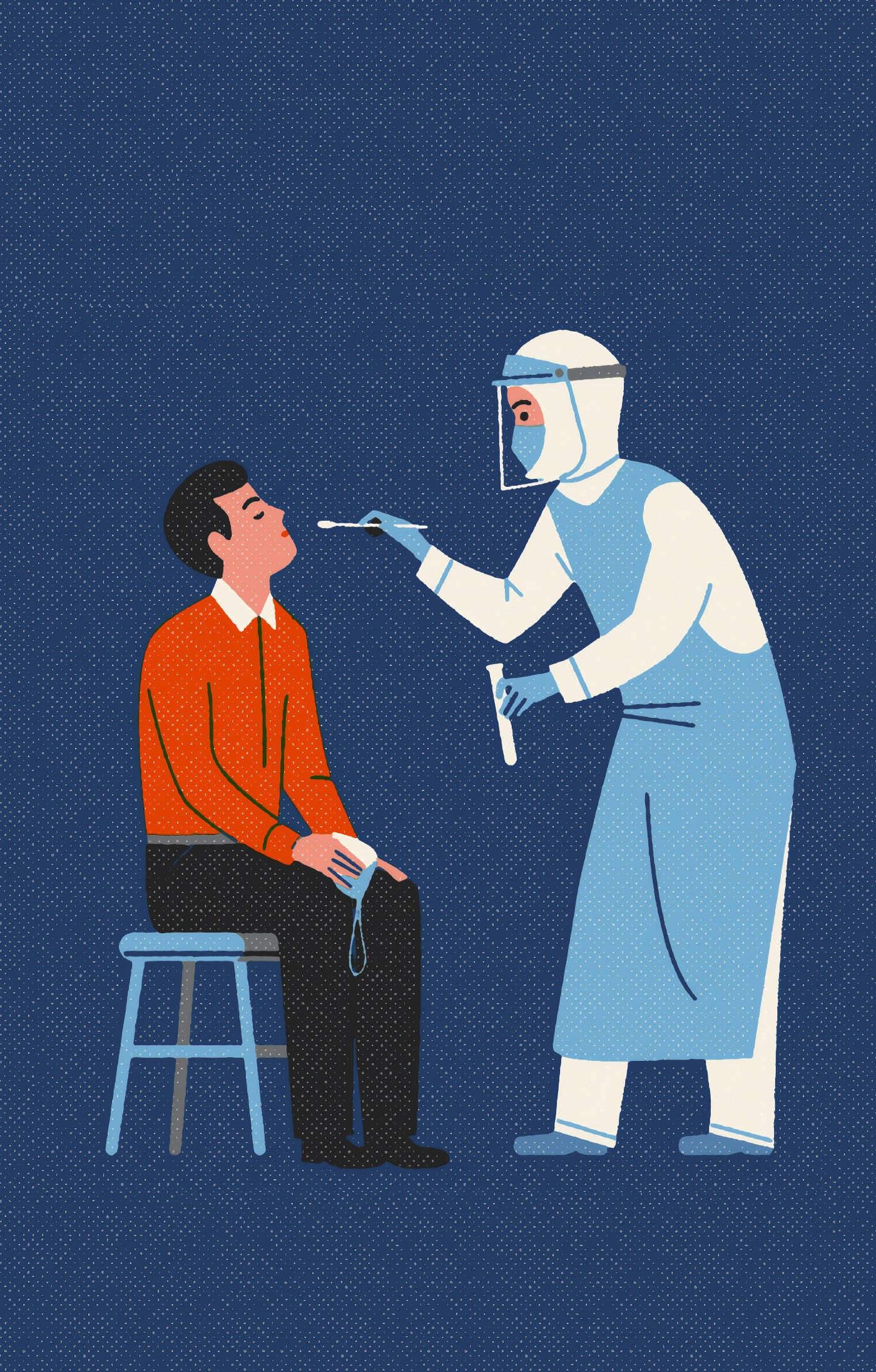 a man sitting on a stool in front of a healthcare worker wearing full PPE. They are preparing to swab the man's nose.