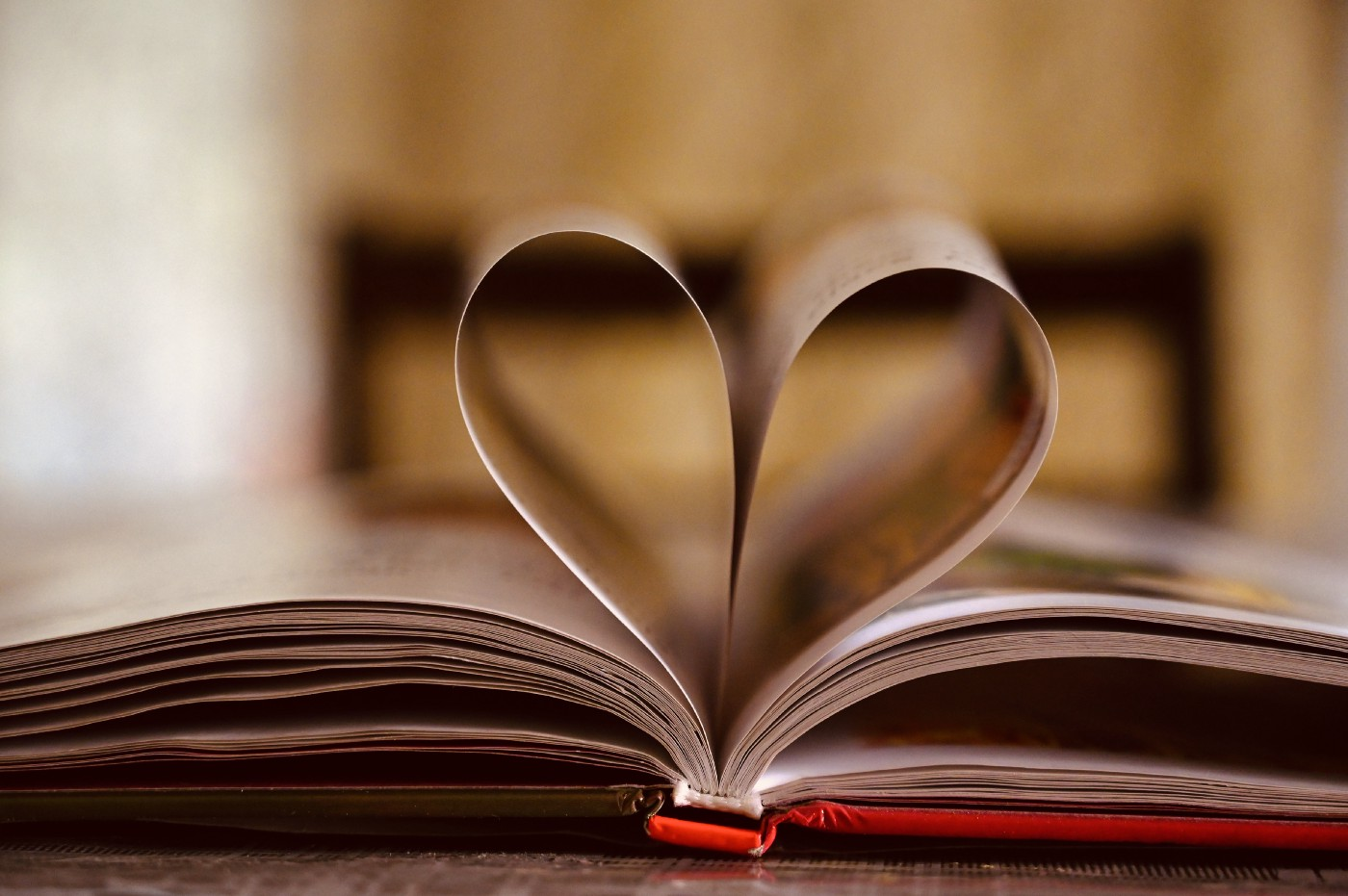 Book with two pages making the shape of a heart