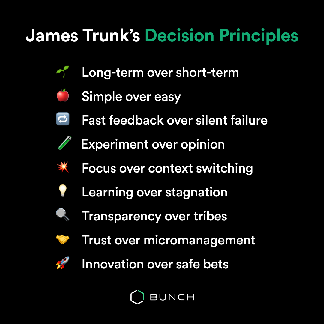 List of decision principles: Long-term over short-term Simple over easy Fast feedback over silent failure Experiment over opinion Focus over context switching Learning over stagnation Transparency over tribes Trust over micromanagement Innovation over safe bets