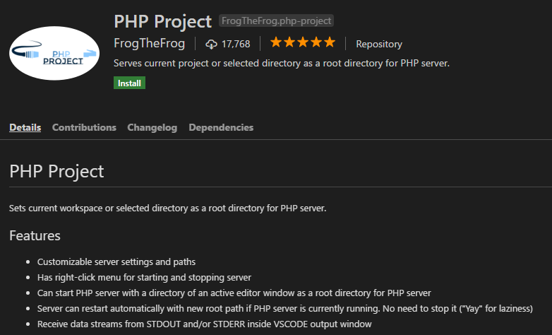 PHP Project for VS Code