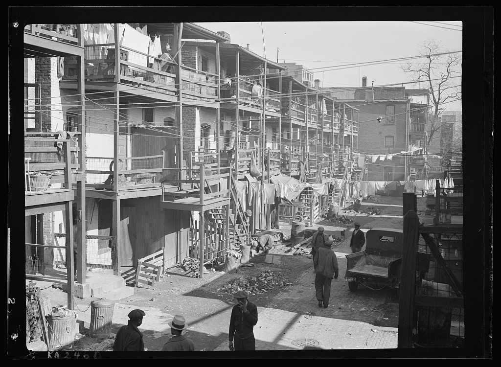 """""""Slums. Washington, D.C."""" Carl Mydans, 1935, Farm Security Administration—Office of War Information Photograph Collection (Library of Congress) https://www.loc.gov/item/2017758811/"""