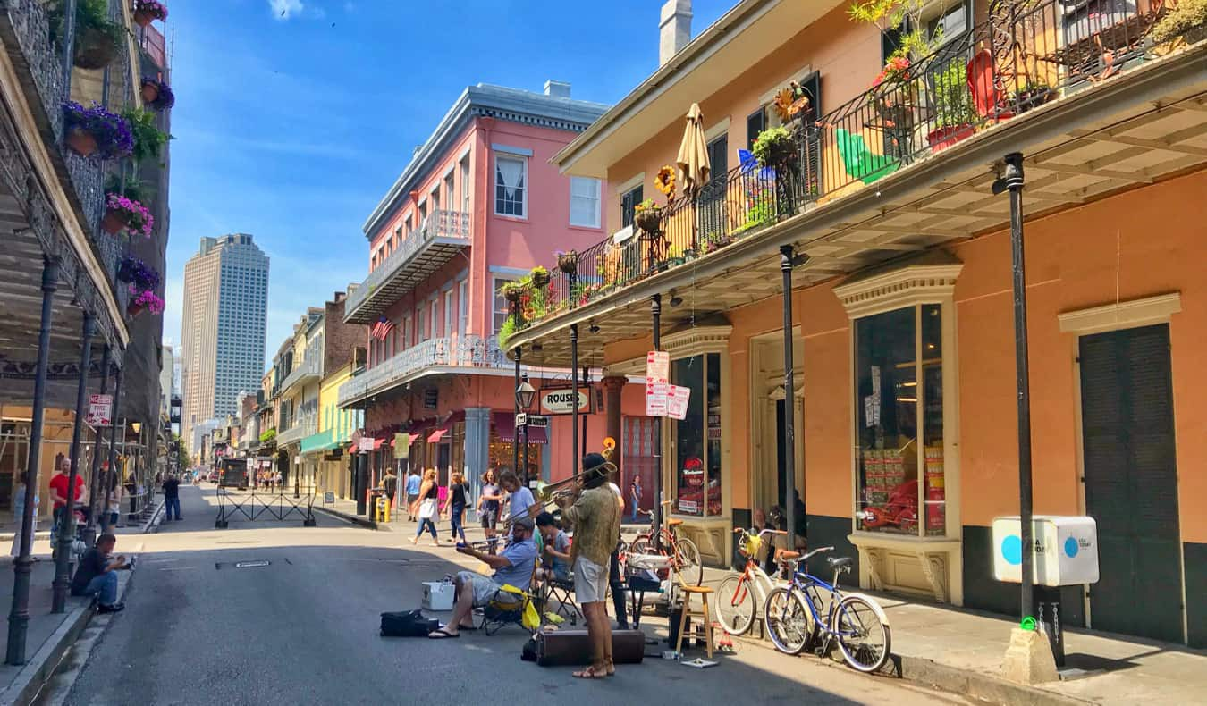 Locals playing music downtown in New Orleans, USA