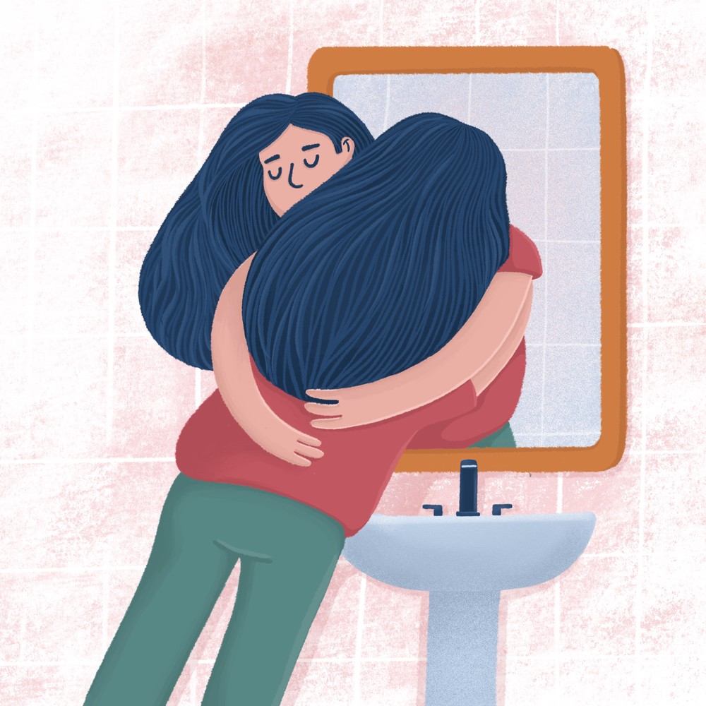 Woman hugging with her reflection in bathroom mirror, self-acceptance concept