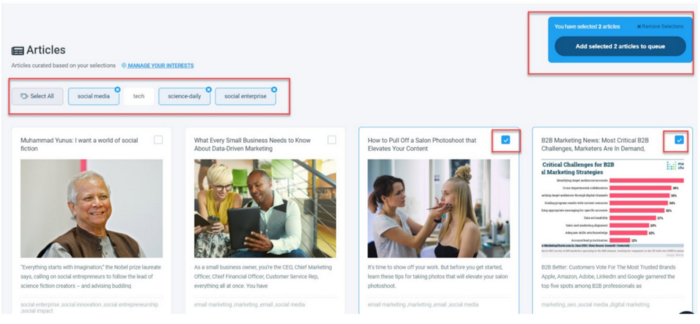Circleboom Publish can help you find trending content related to your interest area with its magical Article Curator.