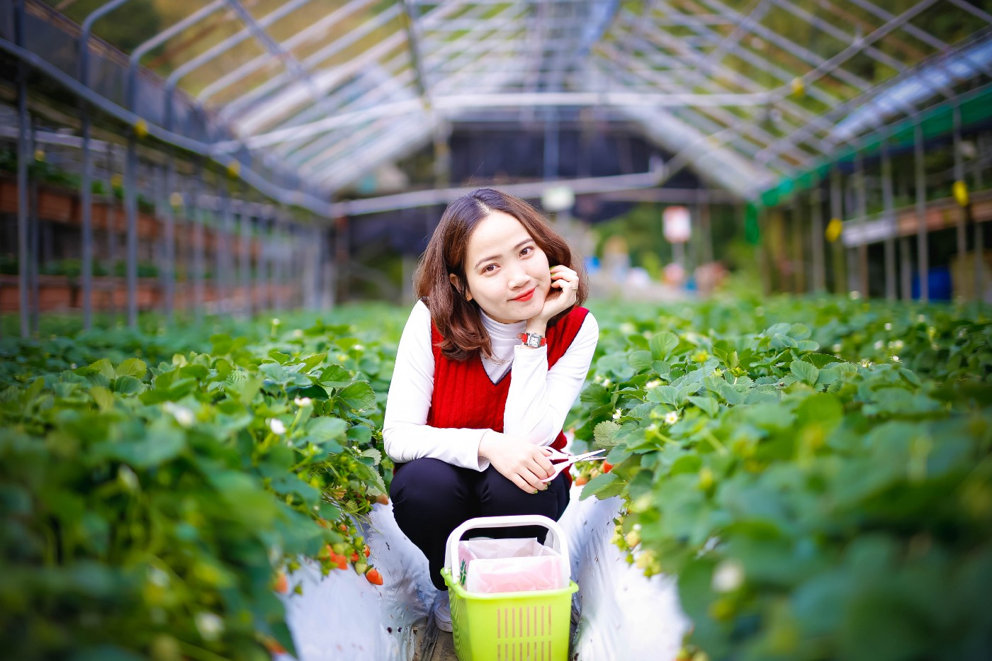 Woman smiling in a green house
