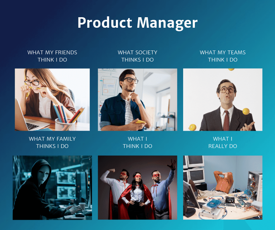 Meme showing how different groups— friends, teams, family etc perceive the job of a product manager