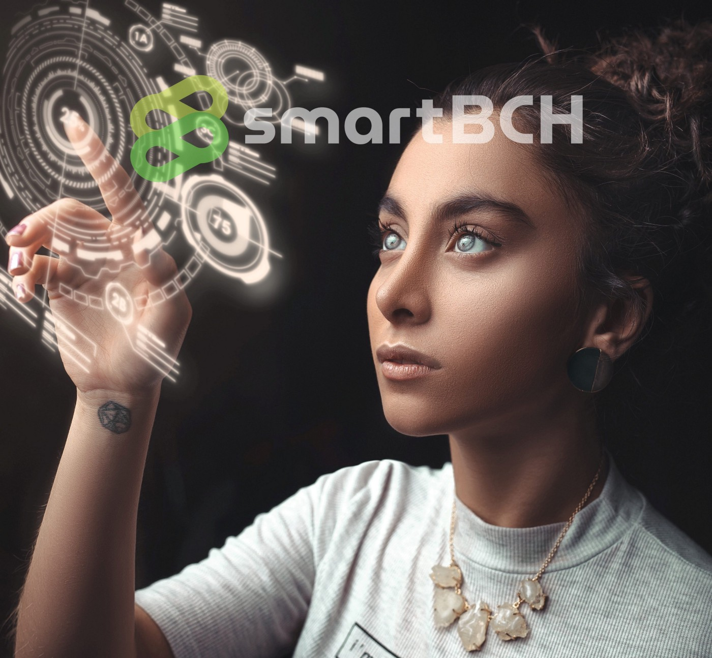 Futuristic picture depicting awoman touching a hologram screen of what could be the internet of the future. I added the smartBCH logo on top.