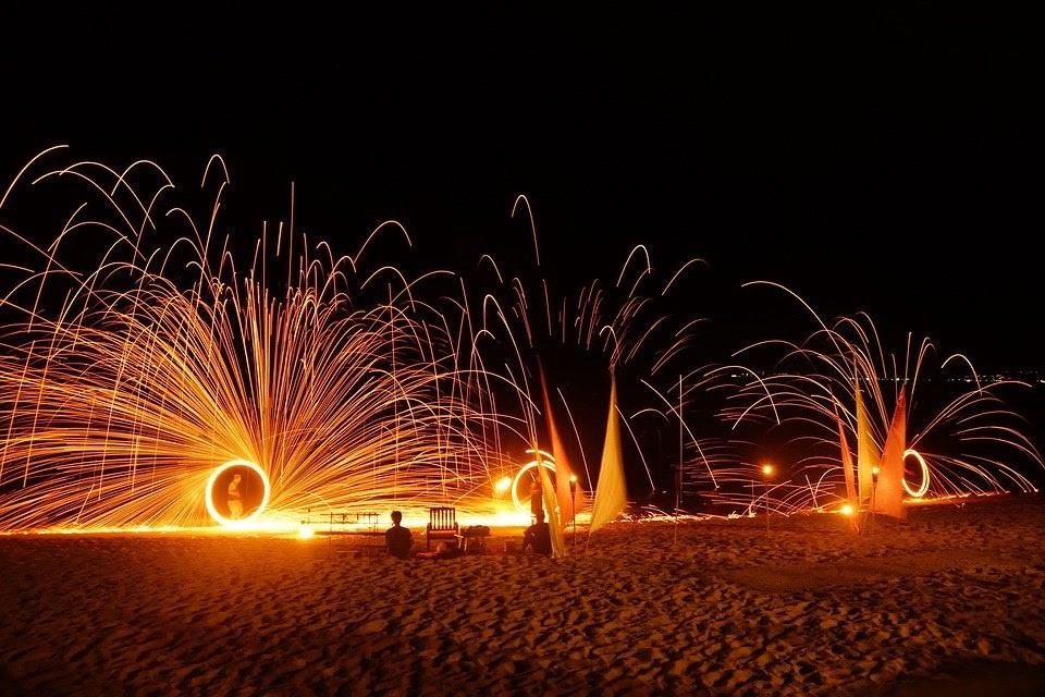 A fire show on a beach in Koh Samui. Performers spin fire for a bright display against the night sky.