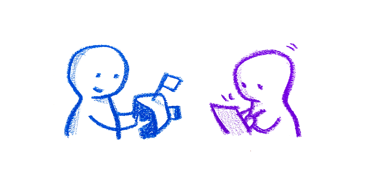 Illustration of a person holding an object, another person is facing them taking notes