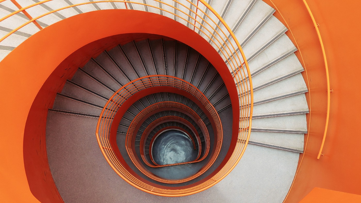 White and orange spiral staircase