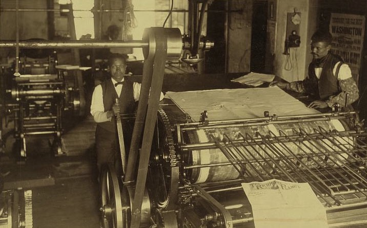 Press room with two press workers at the Richmond Planet newspaper, Richmond, Virginia, 1899.