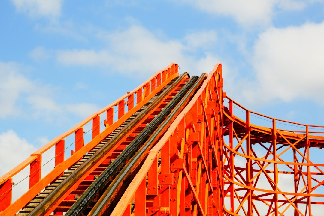 A rollercoaster ride, viewed from the bottom going up.
