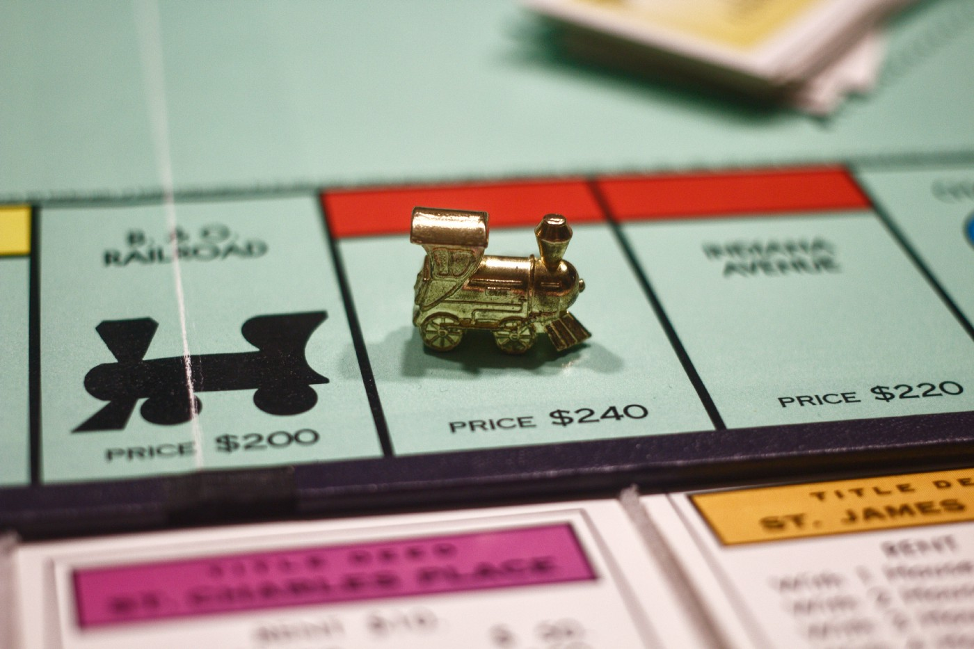 Close up photo of a Monopoly game board.