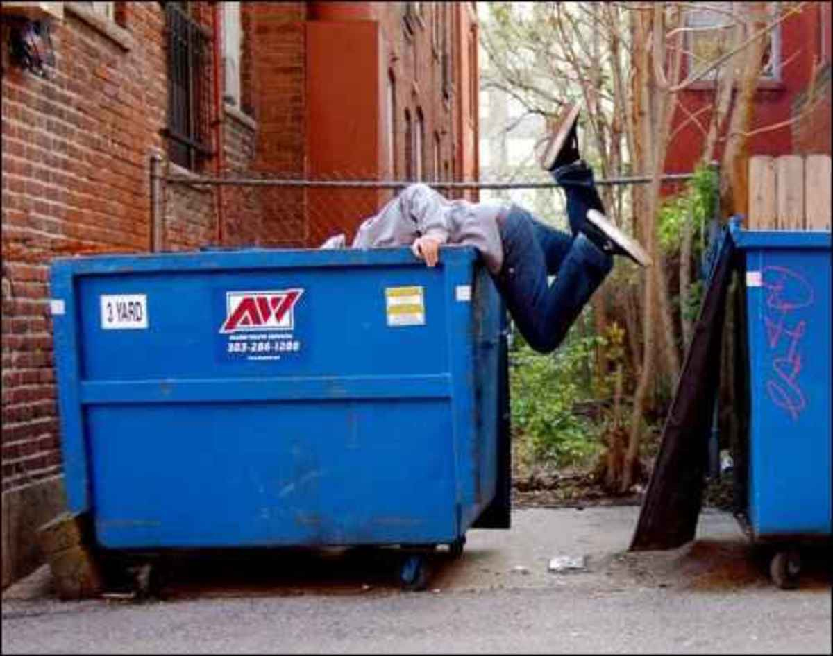 dumpster diver with head in the trash and legs in the air