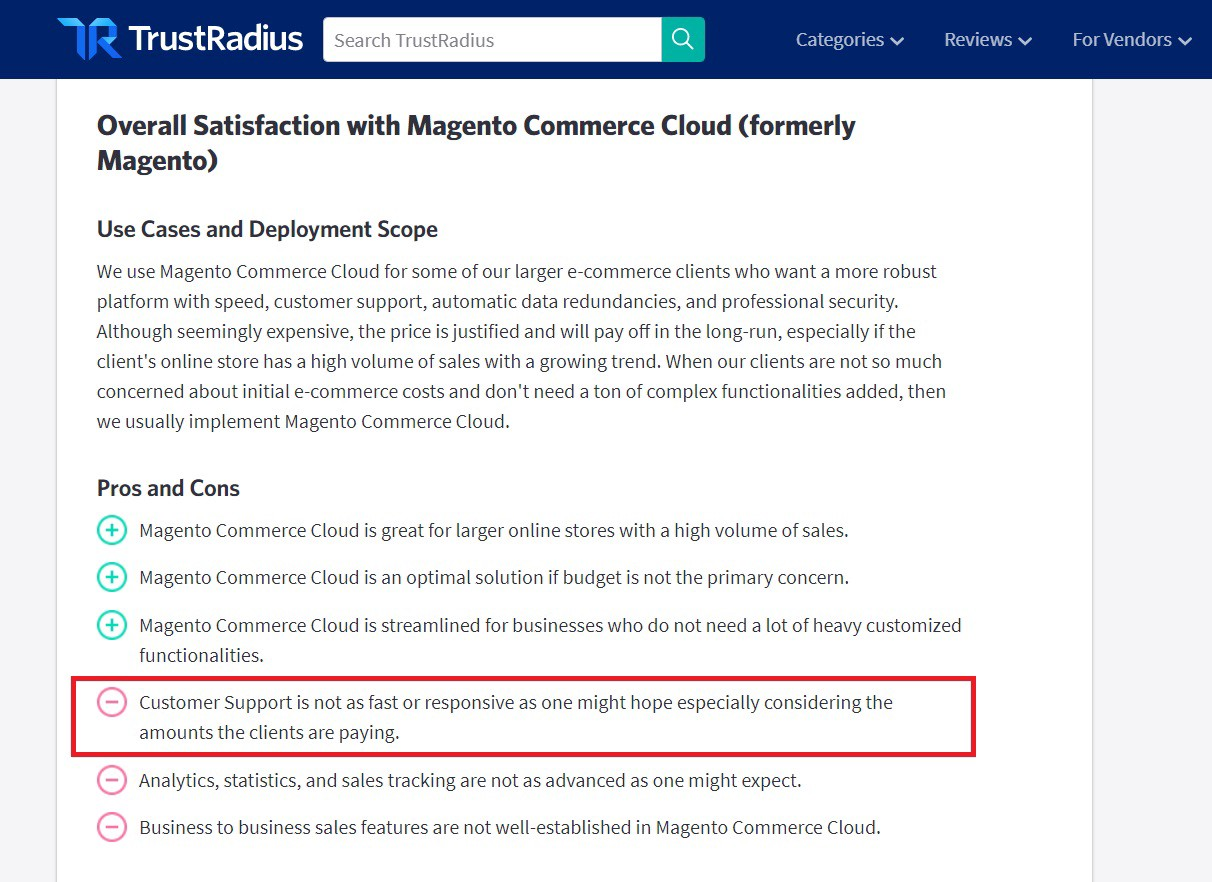 Reviews about support for Magento Commerce Cloud on TrustRadius