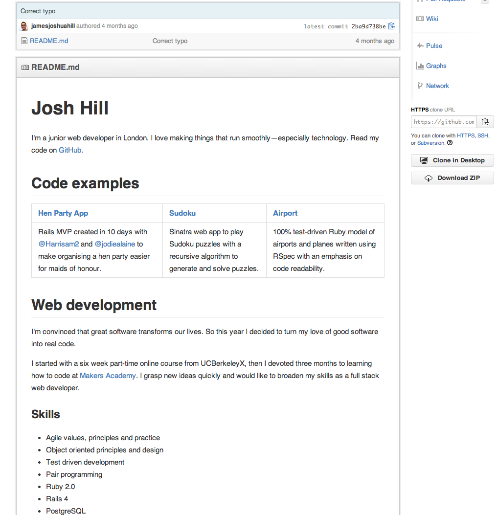Using Github CVs for developers - Makers