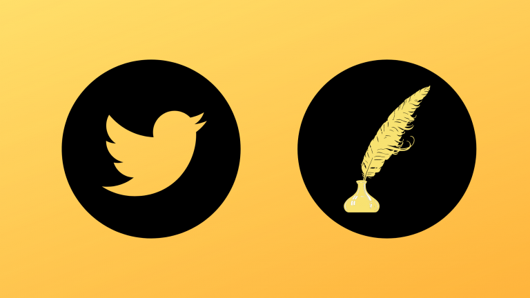 A Twitter Bird, and a Feather Quill