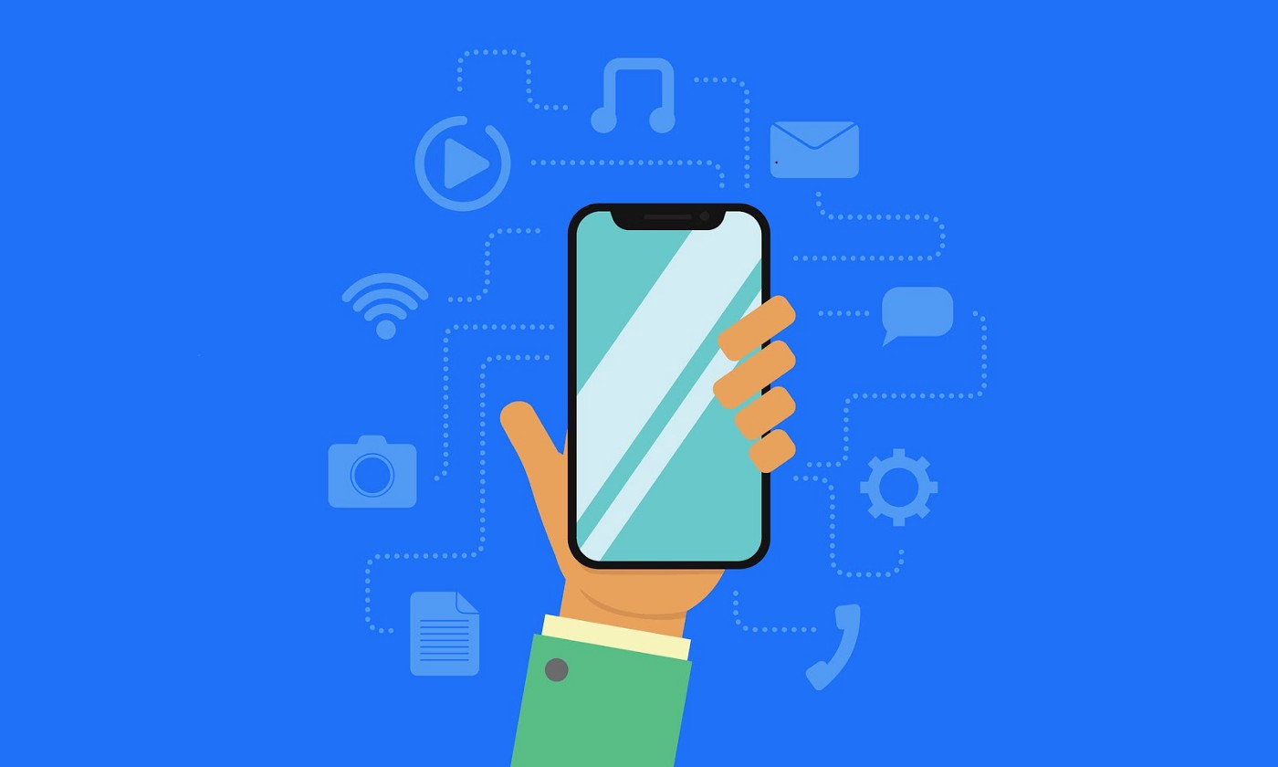 hand holding phone with teal screen, against blue background with various phone icons