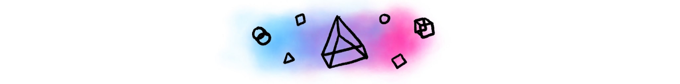 Illustration of circles, triangles and squares over a blended rainbow of colors.