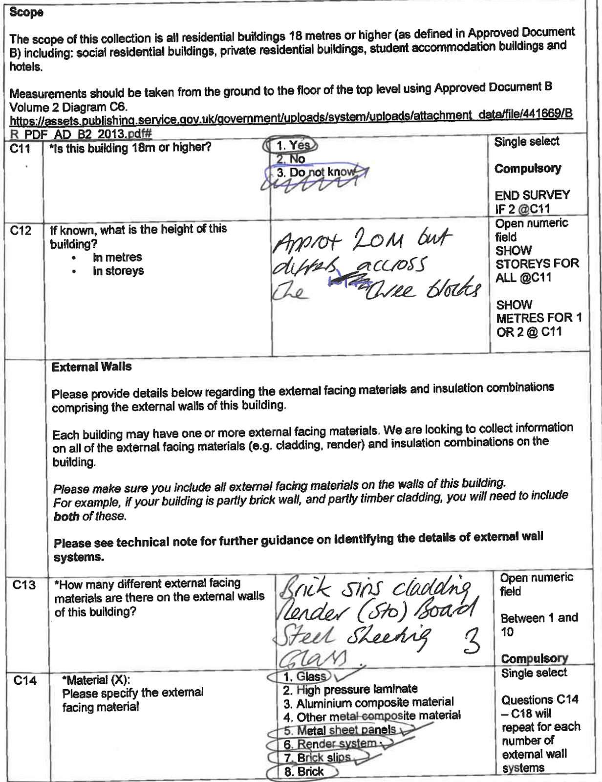 A page of the EWS questionnaire, completed by hand and returned by a building owner.