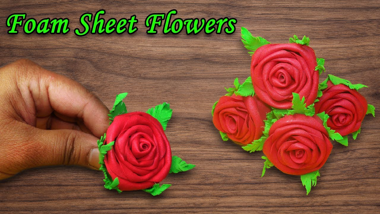 How To Make Roses Flowers With Foam Sheet Quick And Easy Roses Flowers Diy Flowers Craft Ideas By True Diy Crafts Medium