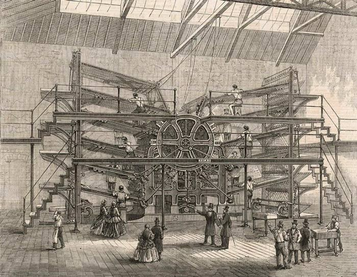 An engraving of Richard March Hoe's enormoous steam-powered printing press.