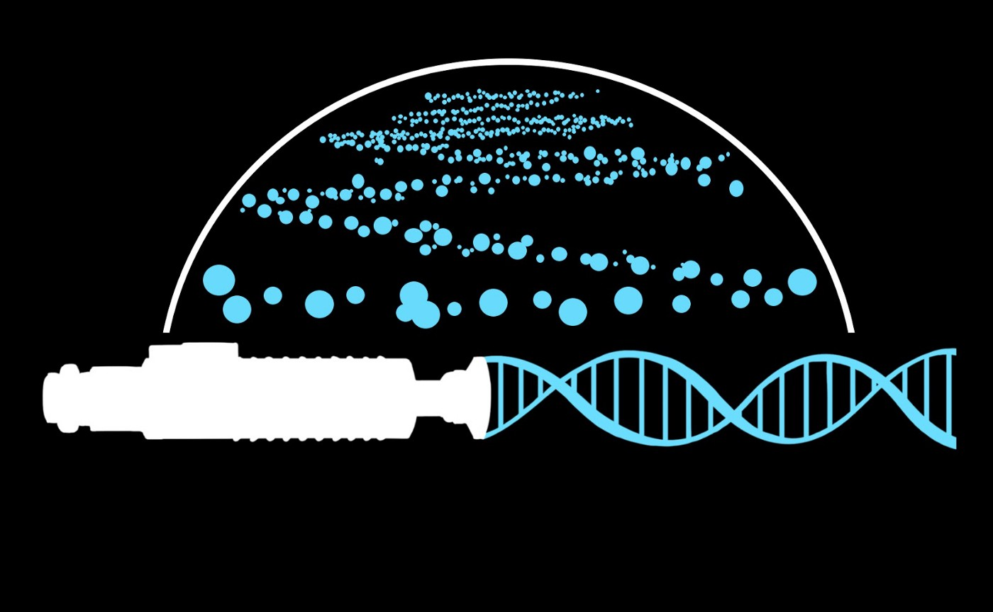 An illustration of a light saber handle with a DNA sequence as its beam.