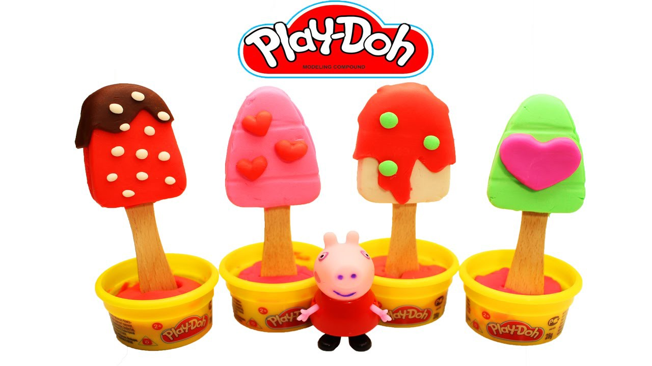 Play Doh How To Make Four Ice Cream Popsicles For Peppa Pig Fun