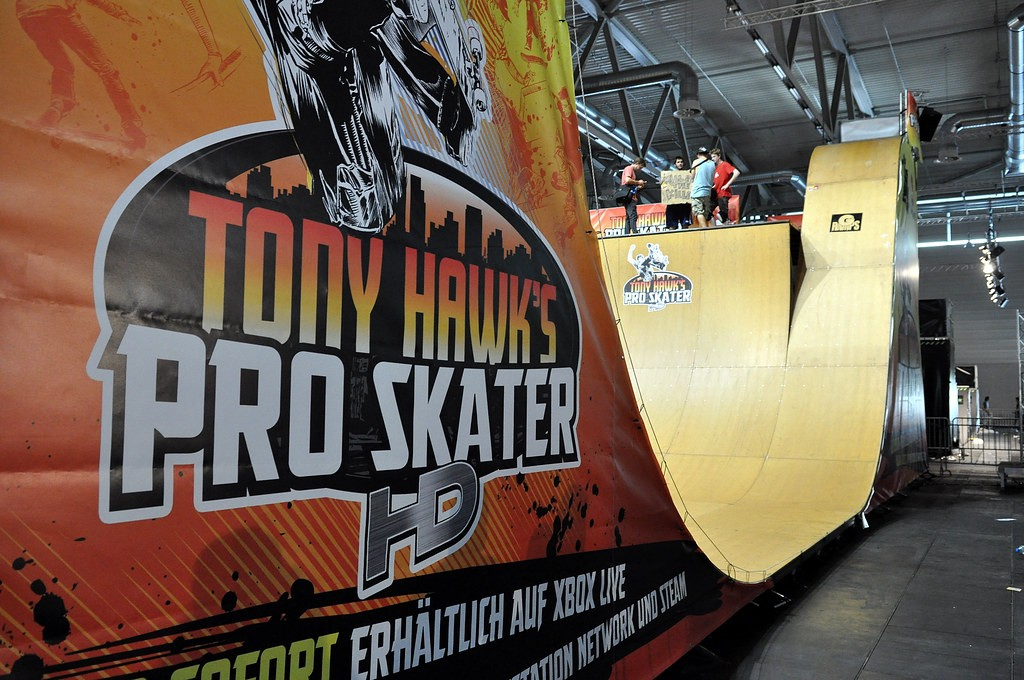 """A picture of a halfpipe branded with """"Tony Hawk's Pro Skater HD"""""""