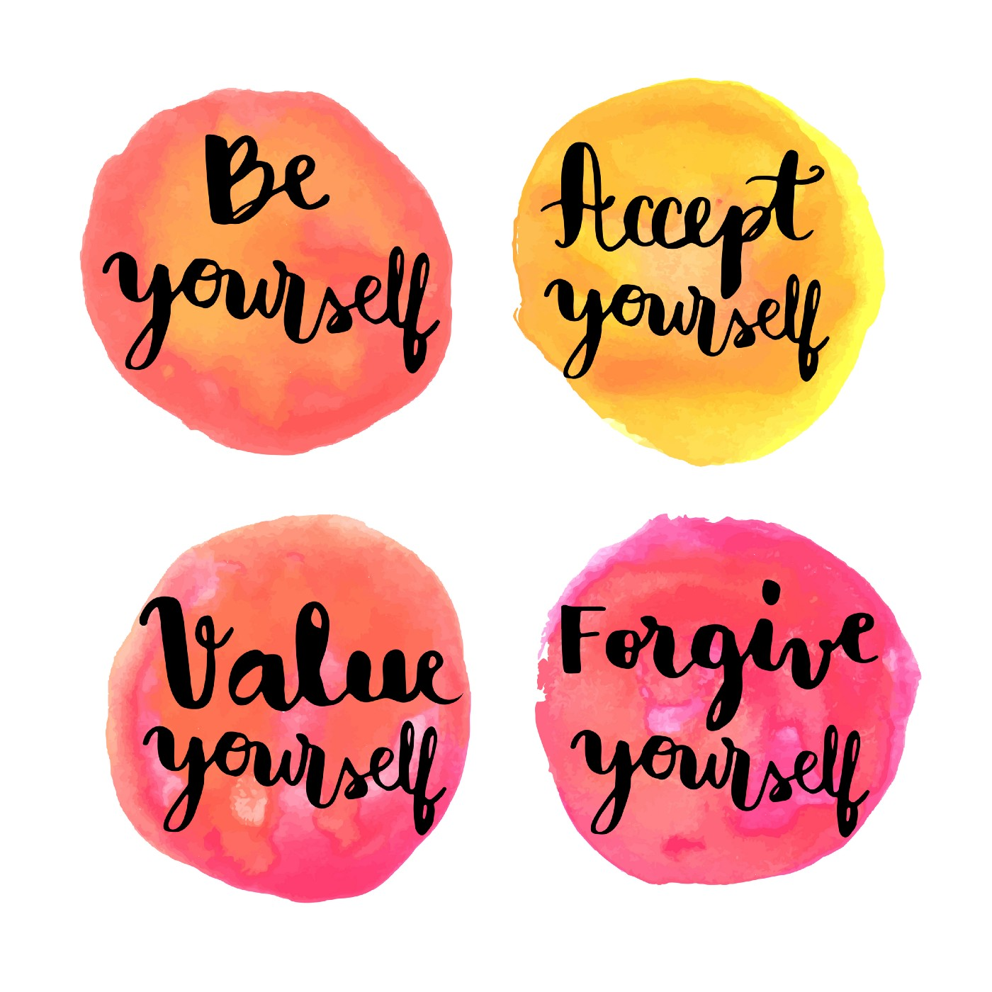 Be yourself hand lettering motivational messages on watercolor painted, circles