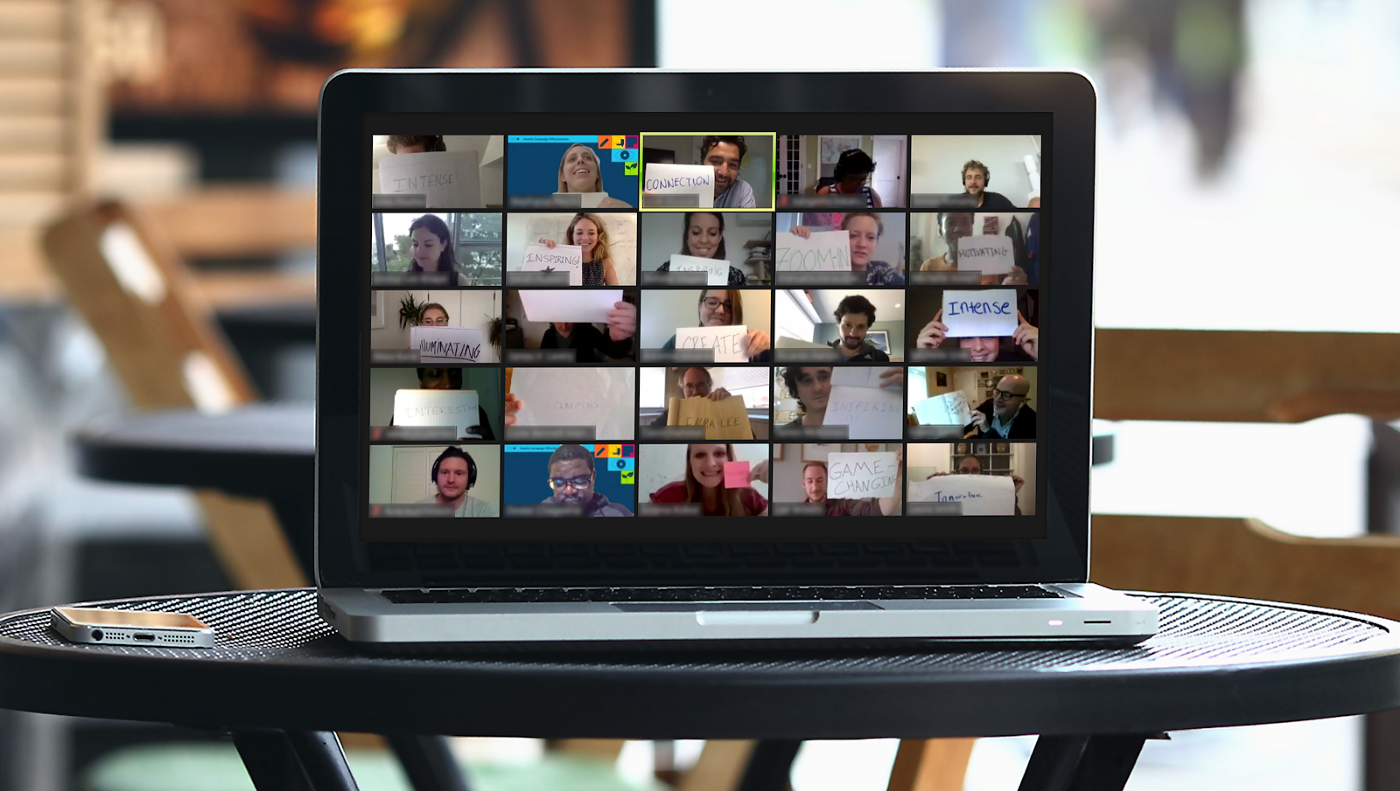 A Zoom screenshot: the WFP Innovation Accelerator virtual bootcamp participants describe their experience in one word