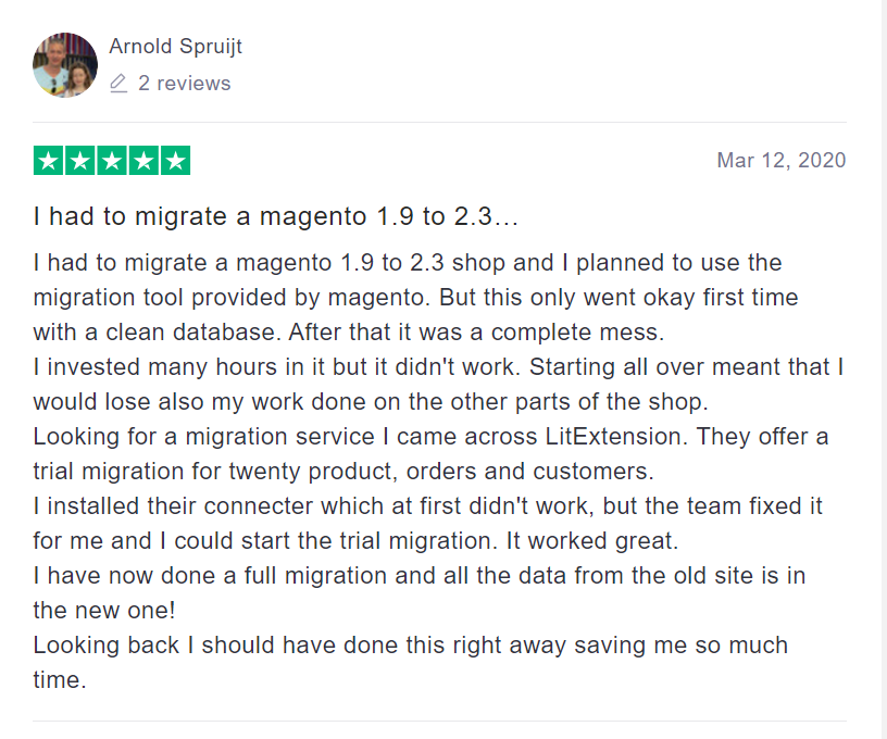 Feedback Upon Migration From Magento 1 to Magento 2 with LitExtension on TrustPilot