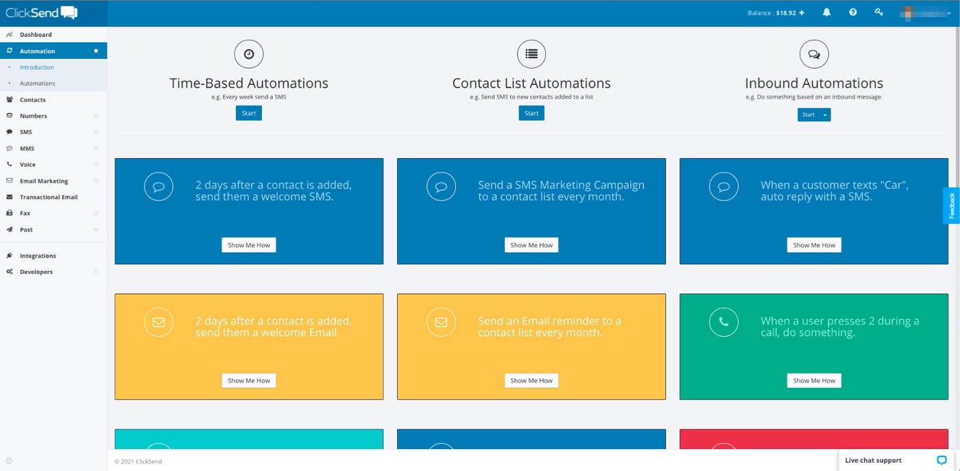 ClickSend SMS Automations Dashboard