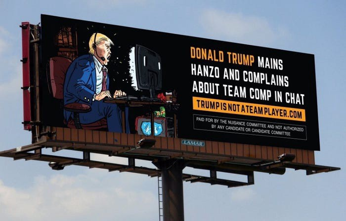 Image of a billboard showing Trump on a computer, shouting into a headset.