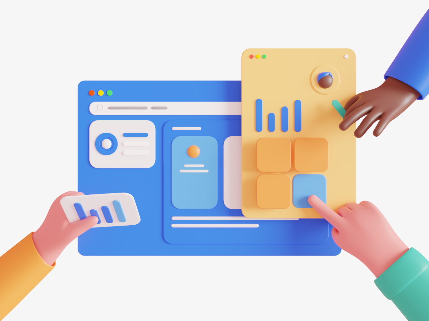 An 3D illustration of people putting user interface modules together.
