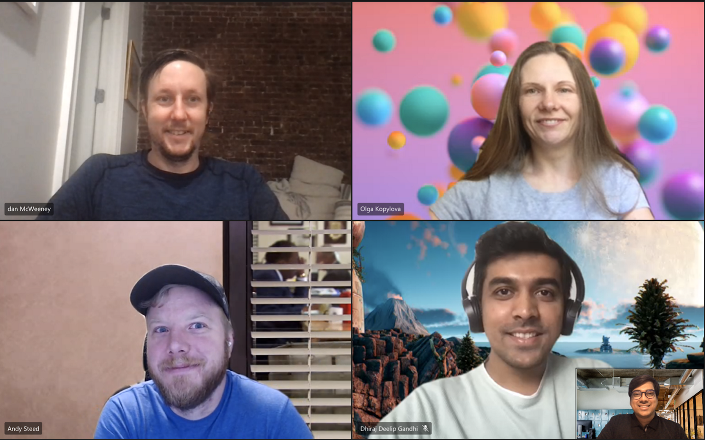 Adobe's open-dev approach in action, as contributors from different teams meet virtually. From top left: Senior Computer Scientist Dan McWeeney, Observability Architect Olga Kopylova, Senior Computer Scientist Andy Steed, Software Development Intern Dhiraj Gandhi, and Product Manager Manik Jindal.