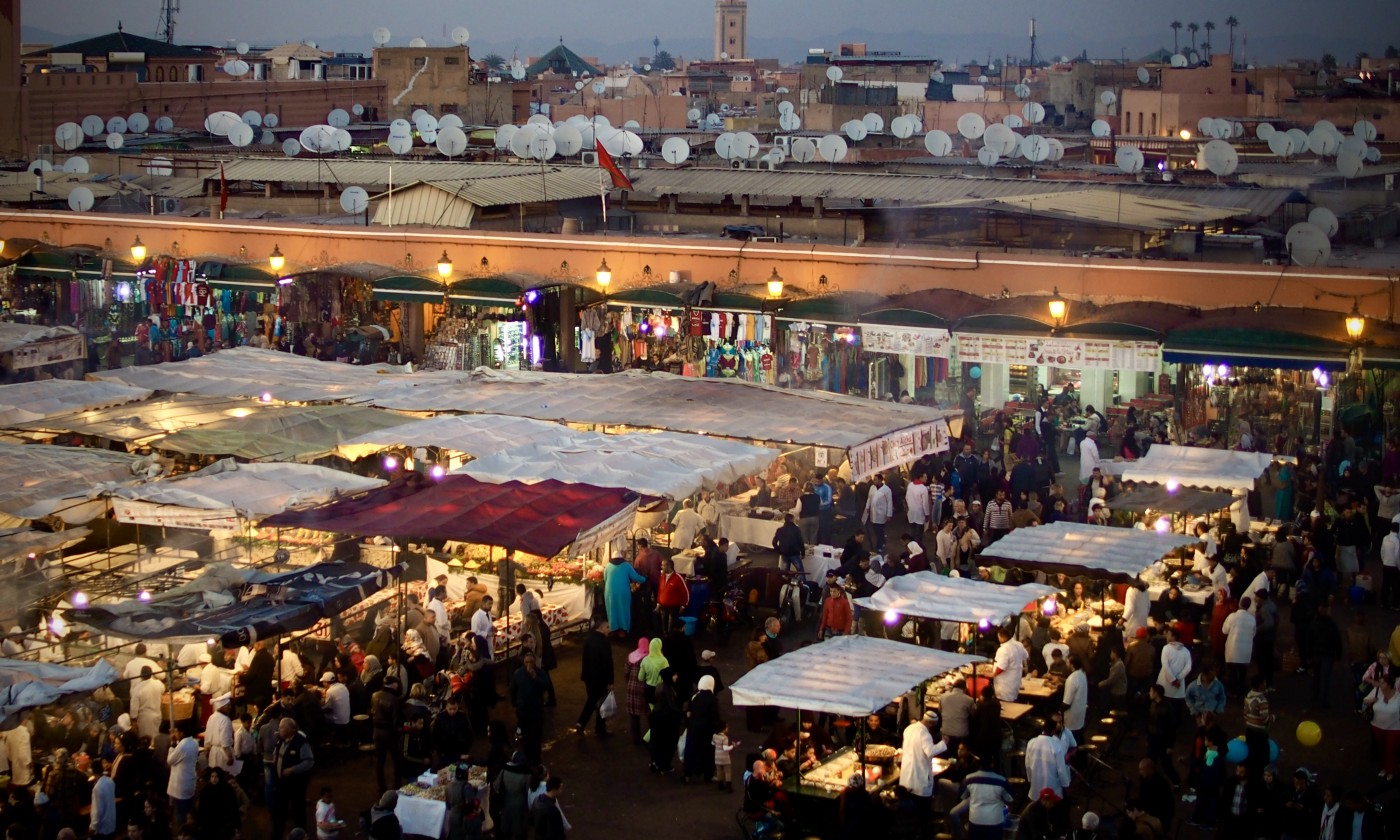 an aerial shot of a marketplace