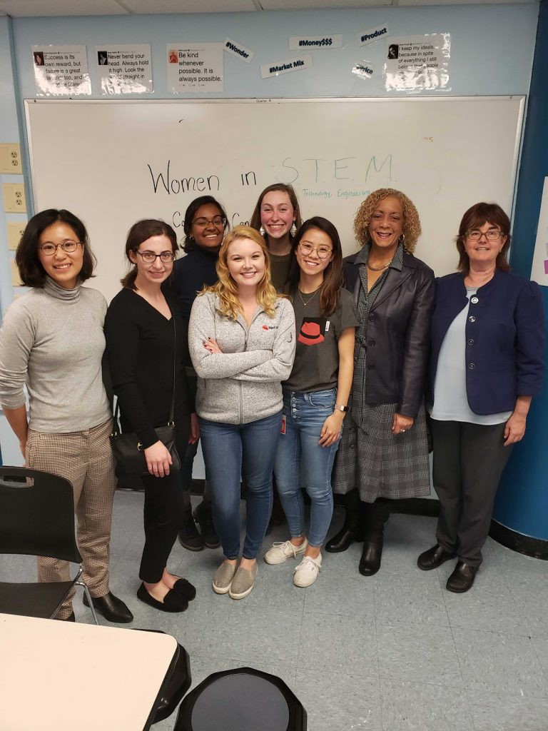 """Participants in our """"Women in STEM"""" visit to English High School"""