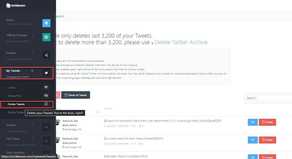Circleboom's My Tweets Tool makes it easier for you to clean tweets