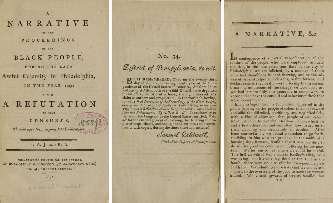 Title-page and opening pages of a pamphlet published by Richard Allen and Absalom Jones in 1794.