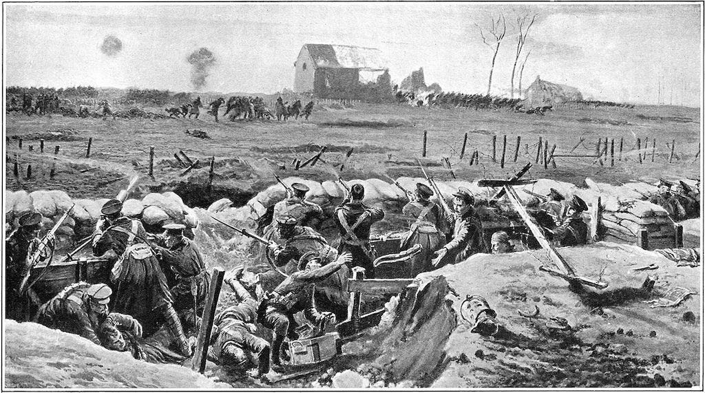 A drawing of early trench warfare with soldiers wearing winter coats and peaked caps.