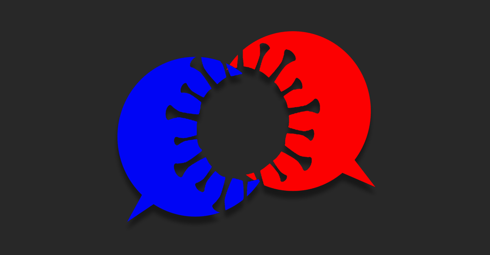 Overlapping red and blue speech bubbles with a coronavirus-shaped cutout over the overlap.