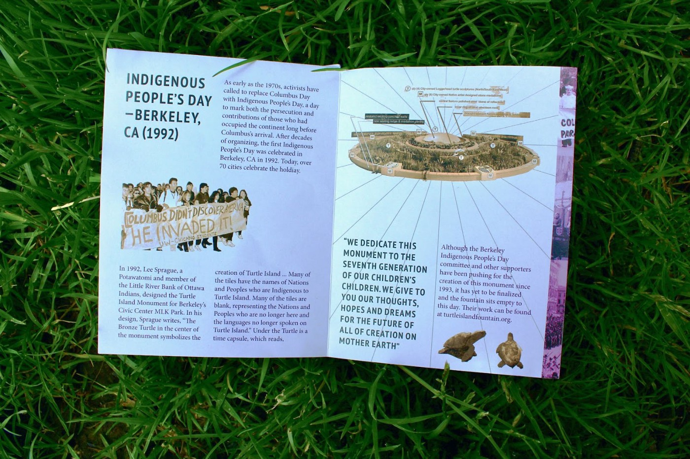 Columbus Zine Case Study 2: Indigenous People's Day Counter Monuments in Berkeley, CA in grass