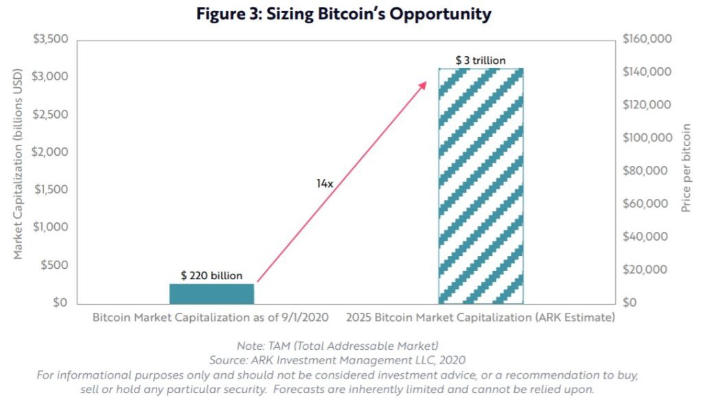 Graph showing total addressable market if you invest in Bitcoin