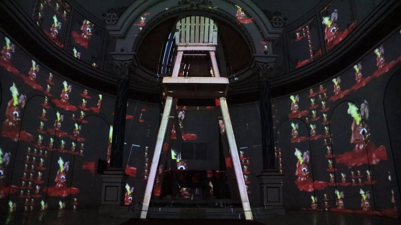 Nick Cave, Hy-Dyve (Kansas City), 14-channel video, abandoned church, wood,2016