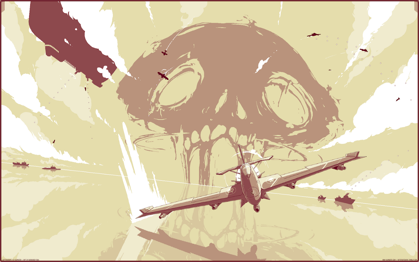 Screenshot of Luftrausers showing a skull background and an airplane in front