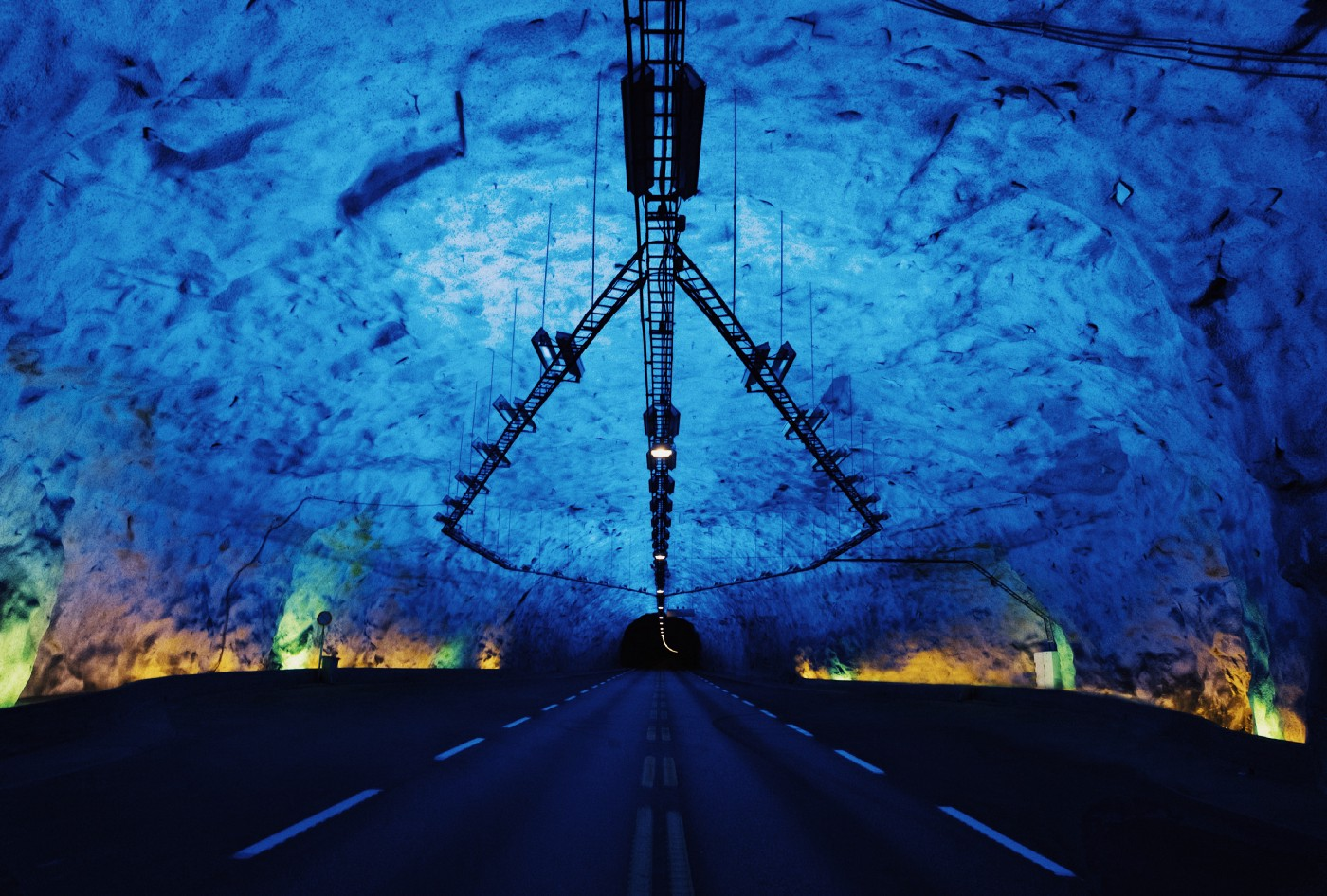 A blue tunnel showing burn out of careers.