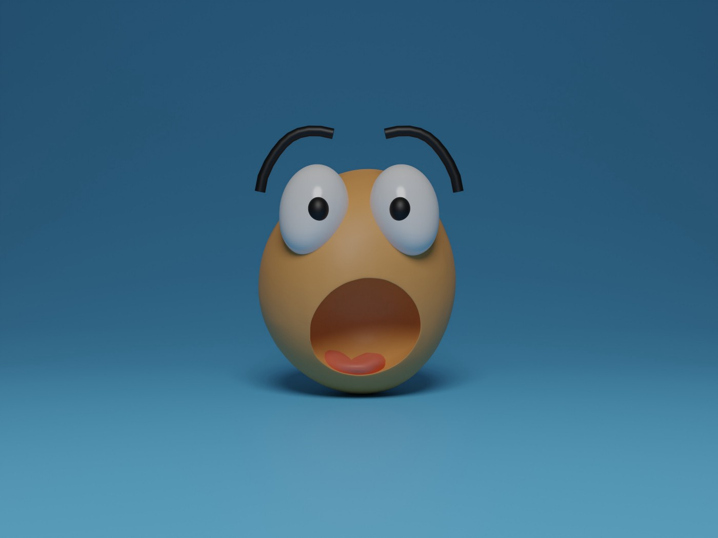 the image is that of a cartoon face that is showing great surprise. the eyes are bulging, the mouth open and the eyebrows are lifted off the head which looks like an egg